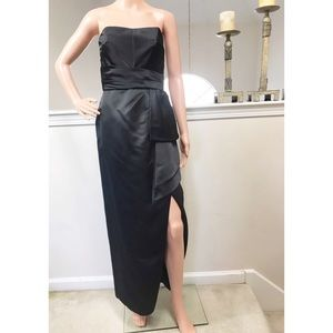 Victor Costa, Beautiful Vintage Black Satin Gown